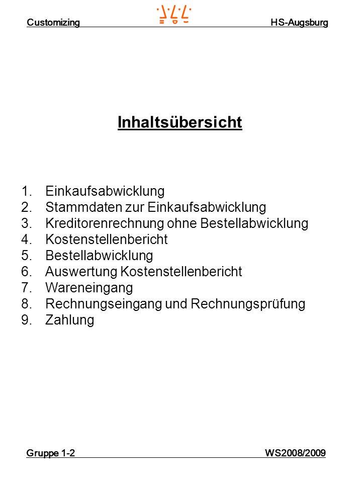 Customizing HS-Augsburg Gruppe 1-2 WS2008/2009 Inhaltsübersicht 1.Einkaufsabwicklung 2.Stammdaten zur Einkaufsabwicklung 3.Kreditorenrechnung ohne Bes