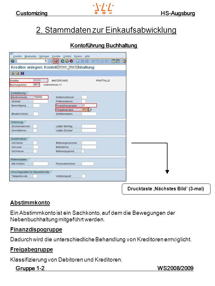 Customizing HS-Augsburg Gruppe 1-2 WS2008/2009 2. Stammdaten zur Einkaufsabwicklung Kontoführung Buchhaltung Drucktaste Nächstes Bild (3-mal) Abstimmk