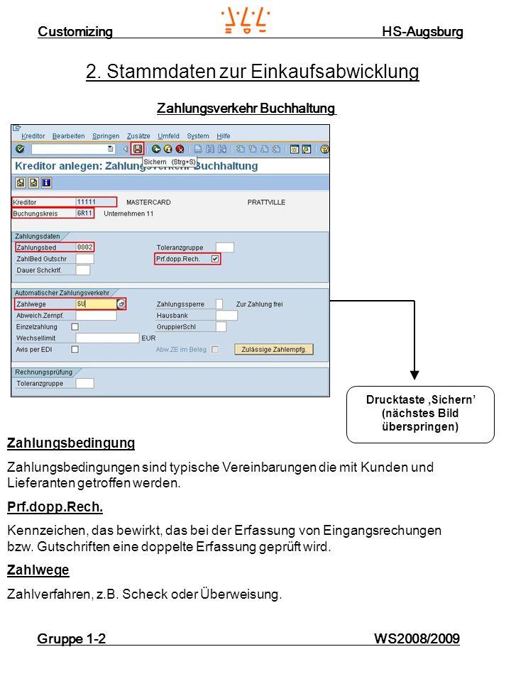 Customizing HS-Augsburg Gruppe 1-2 WS2008/2009 2. Stammdaten zur Einkaufsabwicklung Zahlungsverkehr Buchhaltung Zahlungsbedingung Zahlungsbedingungen