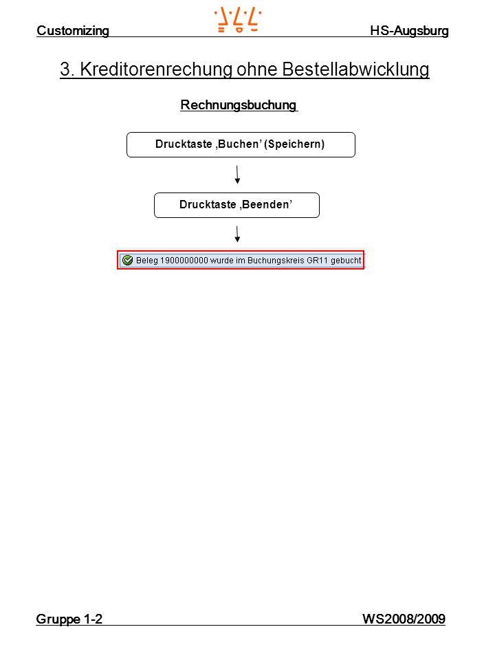 Customizing HS-Augsburg Gruppe 1-2 WS2008/2009 3. Kreditorenrechung ohne Bestellabwicklung Rechnungsbuchung Drucktaste Buchen (Speichern) Drucktaste B