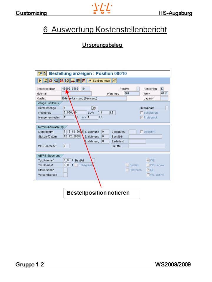 Customizing HS-Augsburg Gruppe 1-2 WS2008/2009 6. Auswertung Kostenstellenbericht Ursprungsbeleg Bestellposition notieren