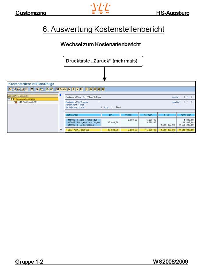 Customizing HS-Augsburg Gruppe 1-2 WS2008/2009 6. Auswertung Kostenstellenbericht Wechsel zum Kostenartenbericht Drucktaste Zurück (mehrmals)