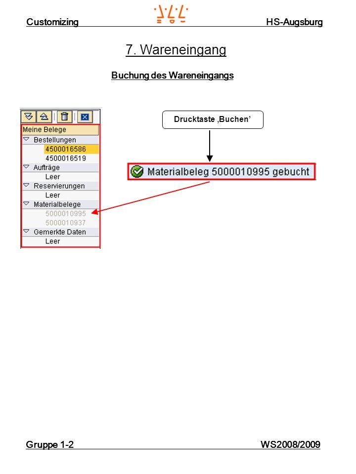 Customizing HS-Augsburg Gruppe 1-2 WS2008/2009 7. Wareneingang Buchung des Wareneingangs Drucktaste Buchen