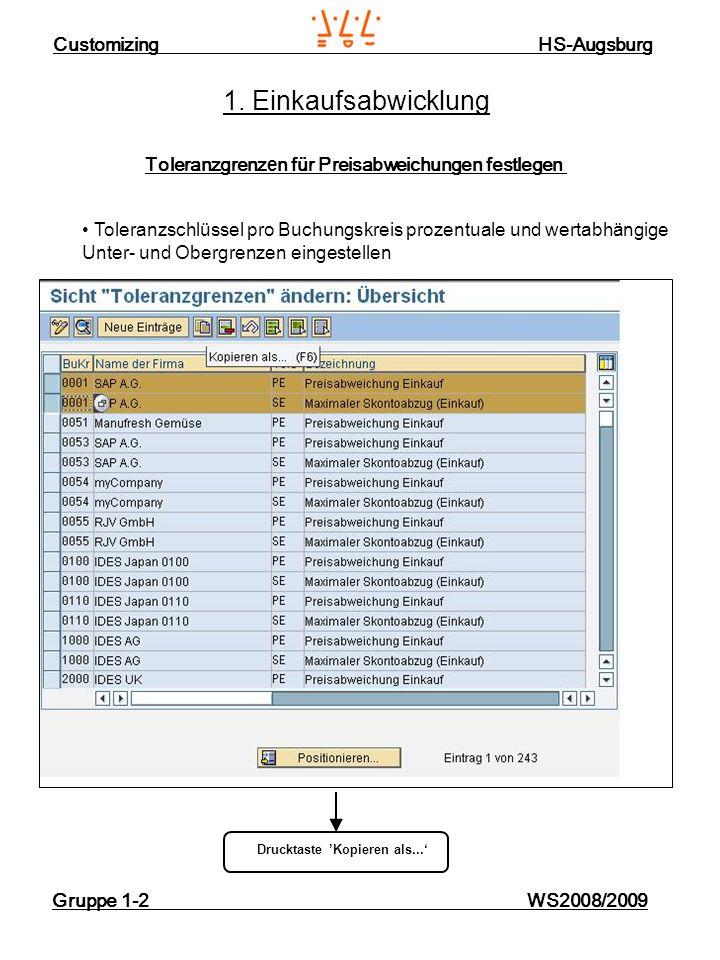 Customizing HS-Augsburg Gruppe 1-2 WS2008/2009 1. Einkaufsabwicklung Toleranzgrenz e n für Preisabweichungen festlegen Drucktaste Kopieren als... Tole