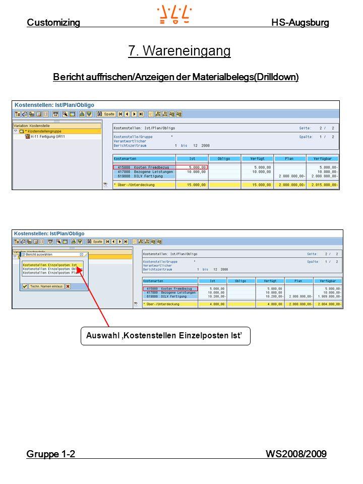 Customizing HS-Augsburg Gruppe 1-2 WS2008/2009 7. Wareneingang Bericht auffrischen/Anzeigen der Materialbelegs(Drilldown) Auswahl Kostenstellen Einzel