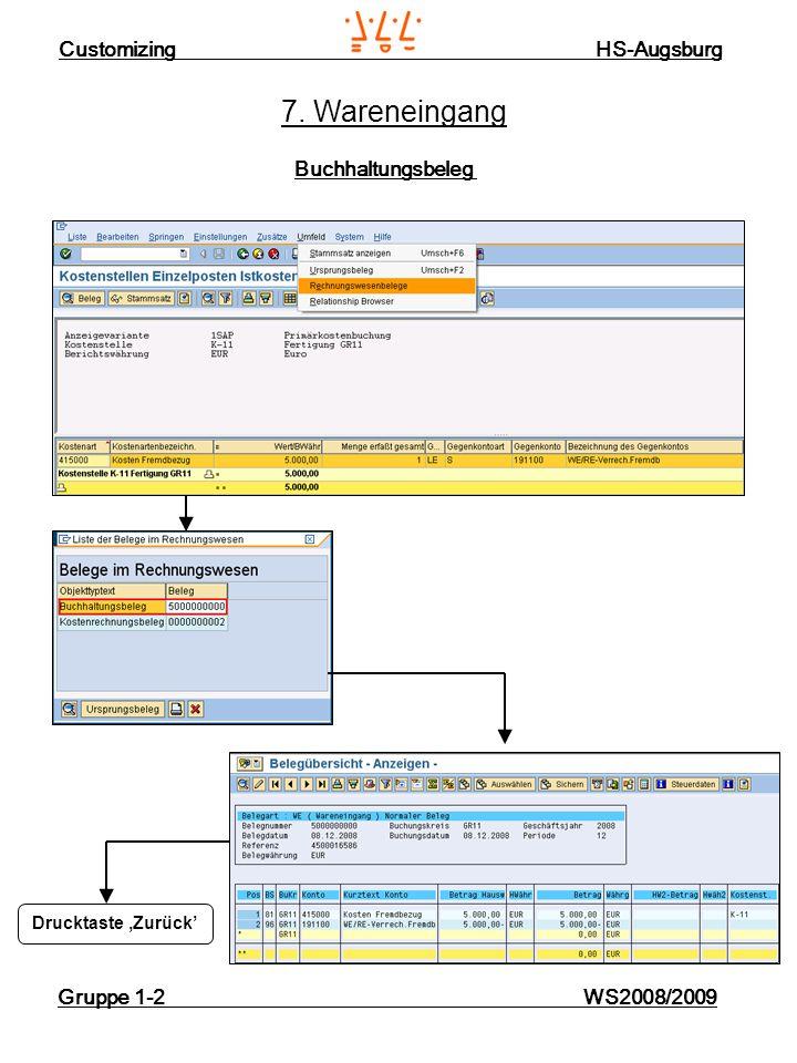 Customizing HS-Augsburg Gruppe 1-2 WS2008/2009 7. Wareneingang Buchhaltungsbeleg Drucktaste Zurück