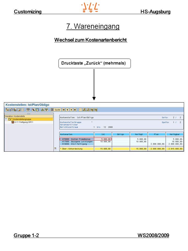 Customizing HS-Augsburg Gruppe 1-2 WS2008/2009 7. Wareneingang Wechsel zum Kostenartenbericht Drucktaste Zurück (mehrmals)