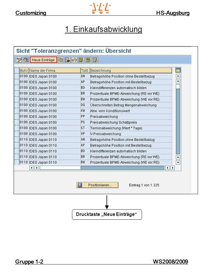 Customizing HS-Augsburg Gruppe 1-2 WS2008/2009 1. Einkaufsabwicklung Drucktaste Neue Einträge