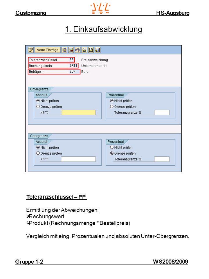 Customizing HS-Augsburg Gruppe 1-2 WS2008/2009 9. Zahlung