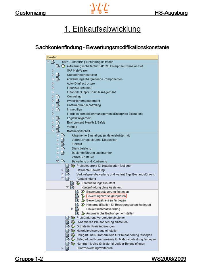 Customizing HS-Augsburg Gruppe 1-2 WS2008/2009 1. Einkaufsabwicklung Sachkontenfindung - Bewertungsmodifikationskonstante