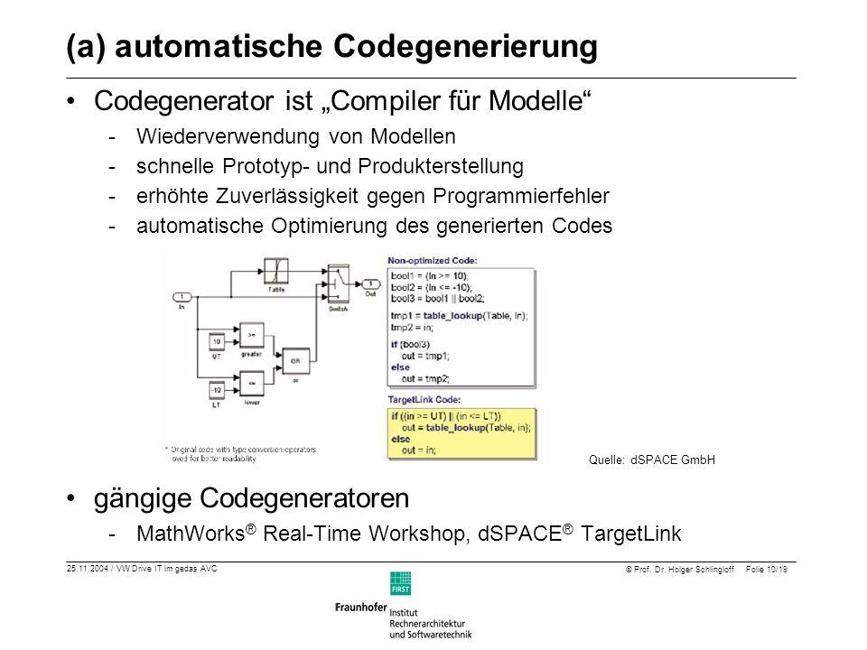 25.11.2004 / VW Drive IT im gedas AVC © Prof. Dr. Holger Schlingloff Folie 10/19 (a) automatische Codegenerierung Codegenerator ist Compiler für Model
