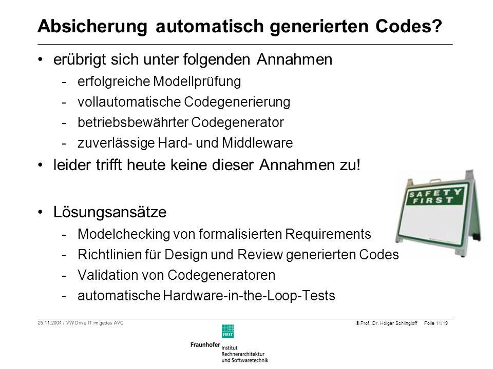 25.11.2004 / VW Drive IT im gedas AVC © Prof. Dr. Holger Schlingloff Folie 11/19 Absicherung automatisch generierten Codes? erübrigt sich unter folgen