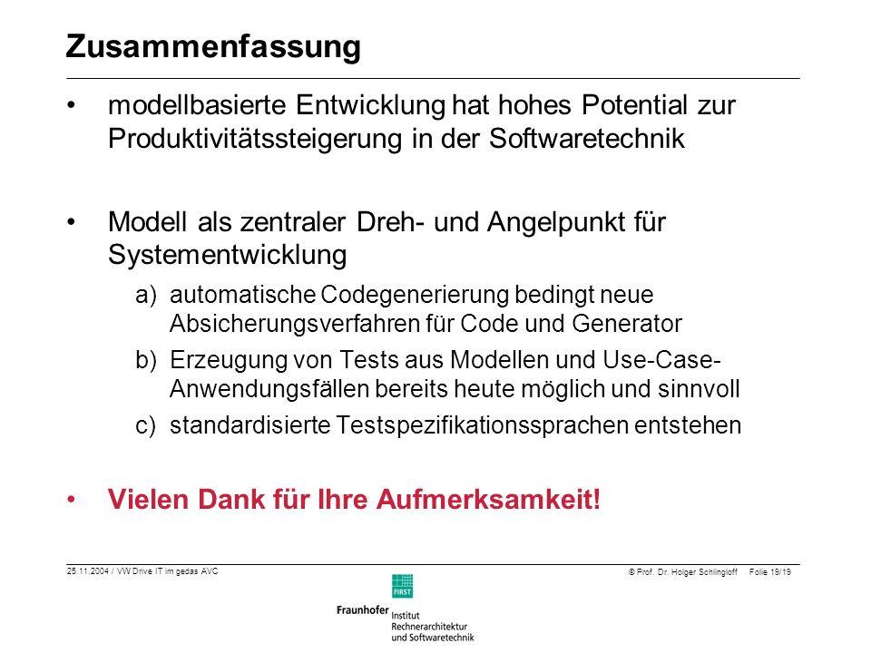 25.11.2004 / VW Drive IT im gedas AVC © Prof. Dr. Holger Schlingloff Folie 19/19 Zusammenfassung modellbasierte Entwicklung hat hohes Potential zur Pr