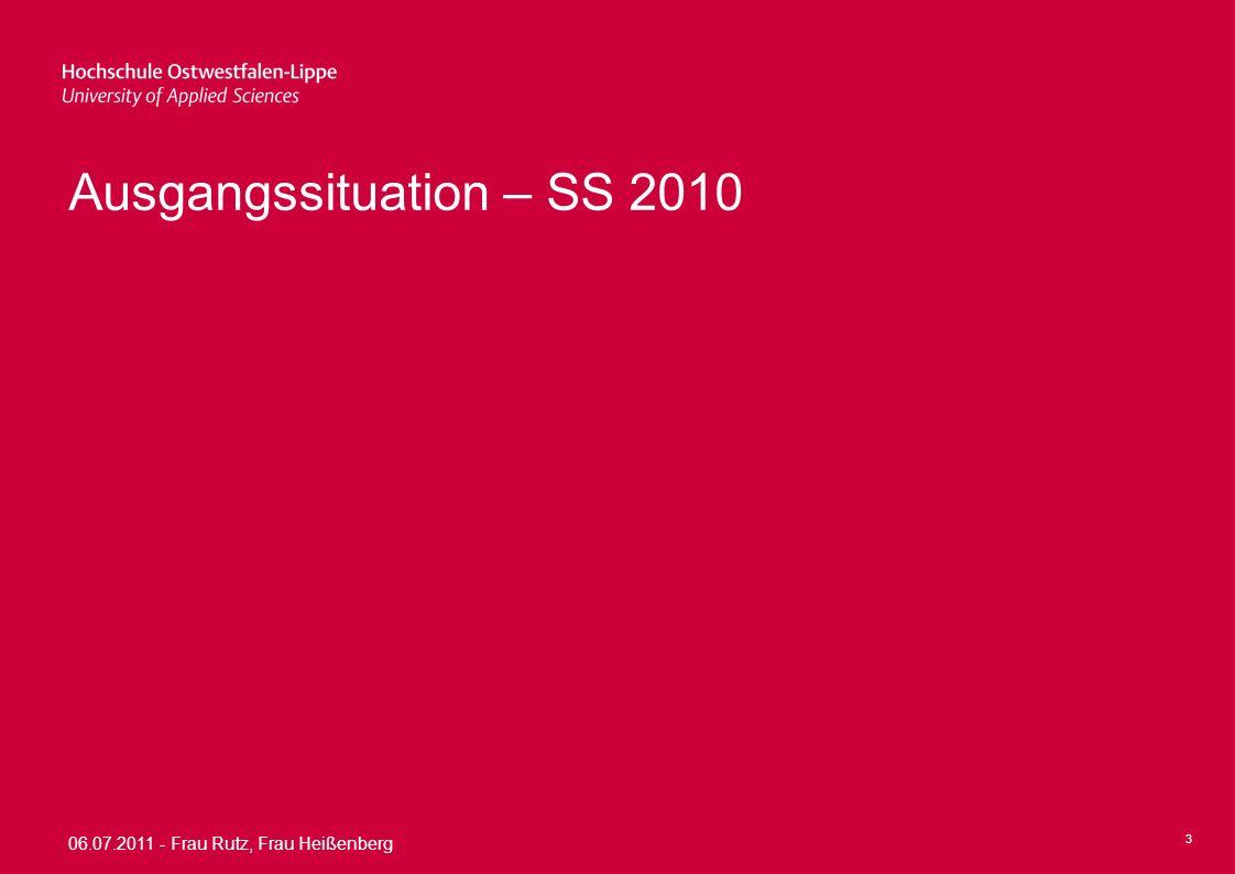 06.07.2011 - Frau Rutz, Frau Heißenberg 14 Umsetzung Umsetzung des Konzeptes wird durch Projektgruppe weiterhin begleitet Projektverantwortung und –leitung verbleiben bei Frau Waldt und Frau Rutz Weiterhin Begleitung durch Herrn Prof.