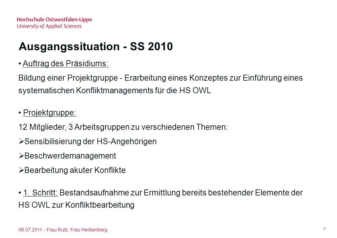 06.07.2011 - Frau Rutz, Frau Heißenberg 5 Befragung: Konfliktmanagement an der HS OWL