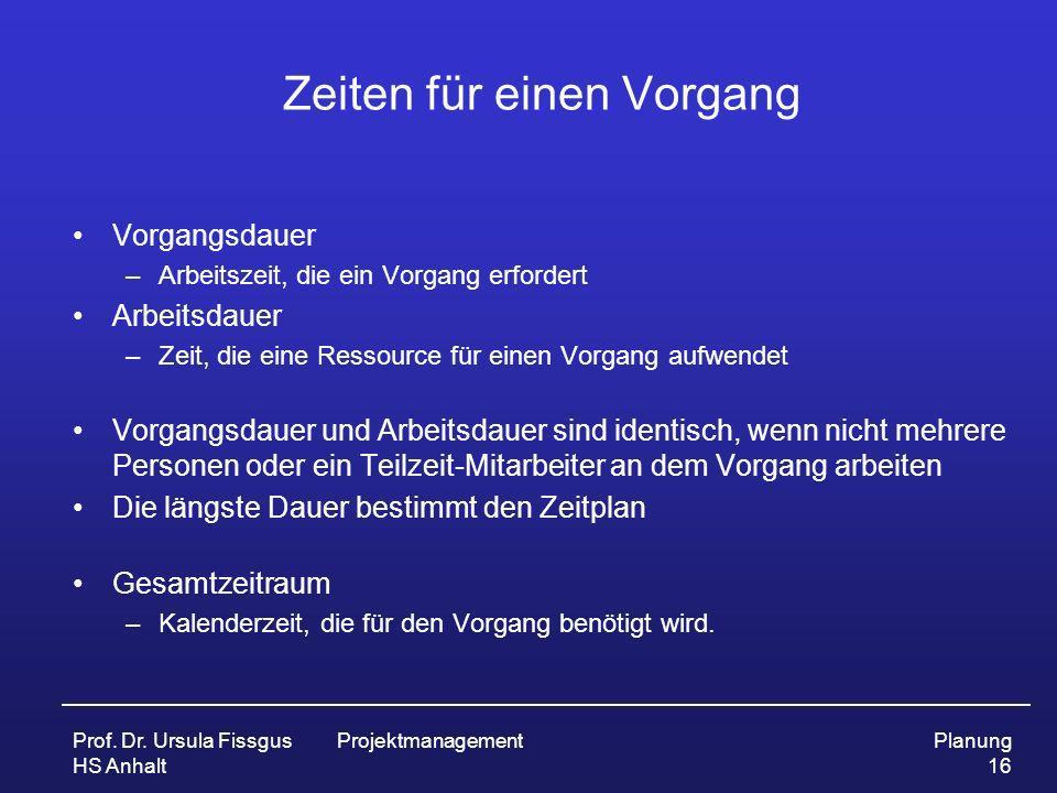 Prof. Dr. Ursula Fissgus HS Anhalt ProjektmanagementPlanung 16 Zeiten für einen Vorgang Vorgangsdauer –Arbeitszeit, die ein Vorgang erfordert Arbeitsd