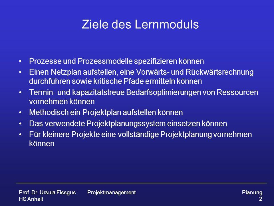 Prof. Dr. Ursula Fissgus HS Anhalt ProjektmanagementPlanung 2 Ziele des Lernmoduls Prozesse und Prozessmodelle spezifizieren können Einen Netzplan auf