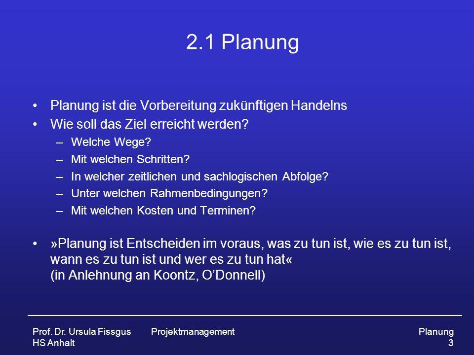 Prof. Dr. Ursula Fissgus HS Anhalt ProjektmanagementPlanung 3 2.1 Planung Planung ist die Vorbereitung zukünftigen Handelns Wie soll das Ziel erreicht