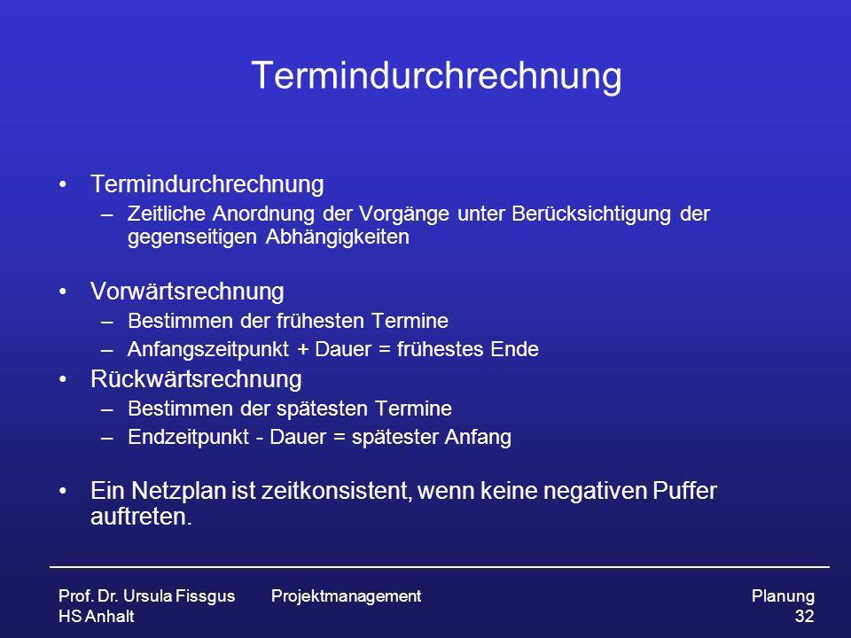 Prof. Dr. Ursula Fissgus HS Anhalt ProjektmanagementPlanung 32 Termindurchrechnung –Zeitliche Anordnung der Vorgänge unter Berücksichtigung der gegens