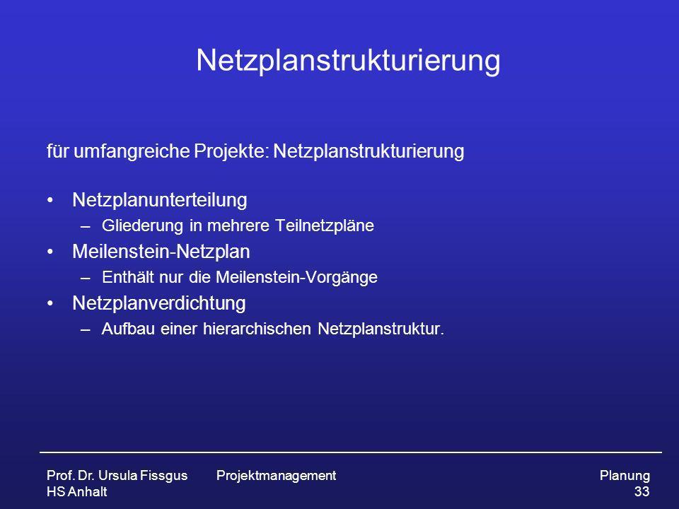 Prof. Dr. Ursula Fissgus HS Anhalt ProjektmanagementPlanung 33 Netzplanstrukturierung für umfangreiche Projekte: Netzplanstrukturierung Netzplanuntert