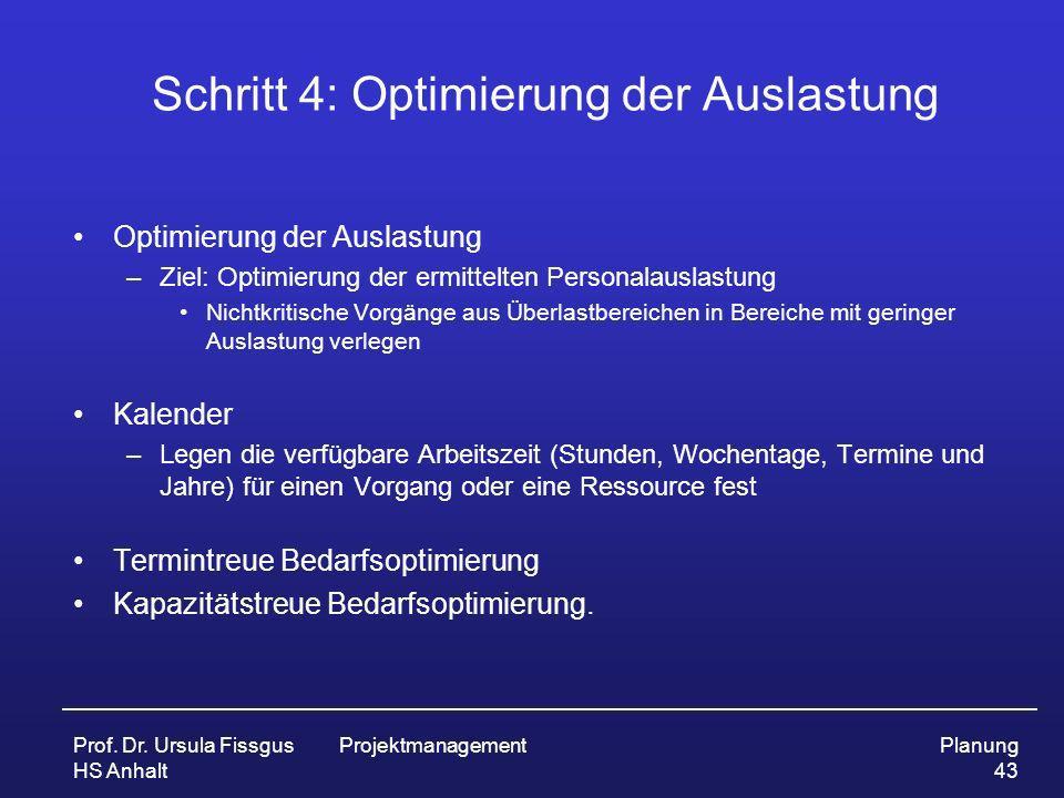 Prof. Dr. Ursula Fissgus HS Anhalt ProjektmanagementPlanung 43 Schritt 4: Optimierung der Auslastung Optimierung der Auslastung –Ziel: Optimierung der