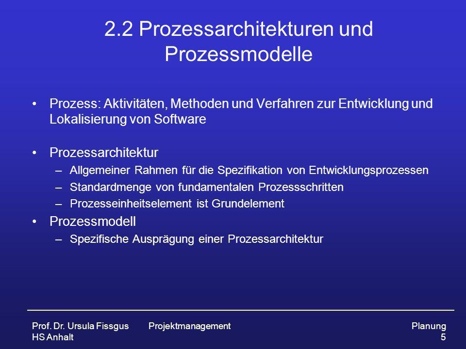 Prof. Dr. Ursula Fissgus HS Anhalt ProjektmanagementPlanung 5 2.2 Prozessarchitekturen und Prozessmodelle Prozess: Aktivitäten, Methoden und Verfahren