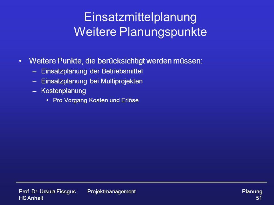 Prof. Dr. Ursula Fissgus HS Anhalt ProjektmanagementPlanung 51 Einsatzmittelplanung Weitere Planungspunkte Weitere Punkte, die berücksichtigt werden m