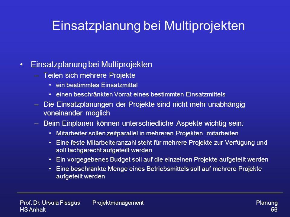 Prof. Dr. Ursula Fissgus HS Anhalt ProjektmanagementPlanung 56 Einsatzplanung bei Multiprojekten –Teilen sich mehrere Projekte ein bestimmtes Einsatzm