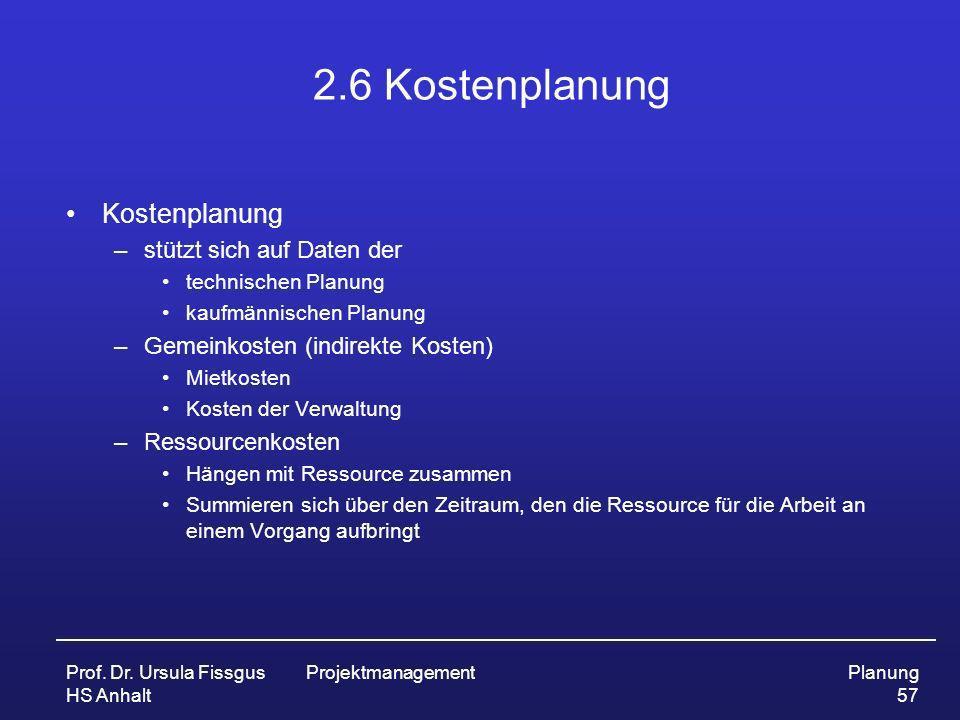 Prof. Dr. Ursula Fissgus HS Anhalt ProjektmanagementPlanung 57 2.6 Kostenplanung Kostenplanung –stützt sich auf Daten der technischen Planung kaufmänn