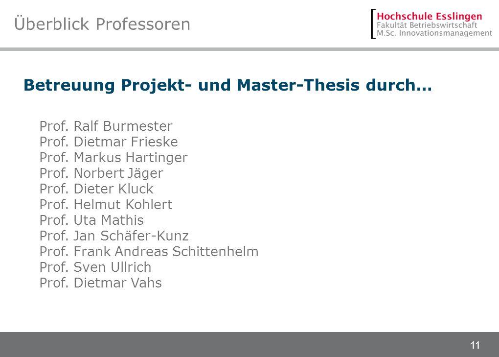 11 Überblick Professoren Betreuung Projekt- und Master-Thesis durch… Prof. Ralf Burmester Prof. Dietmar Frieske Prof. Markus Hartinger Prof. Norbert J