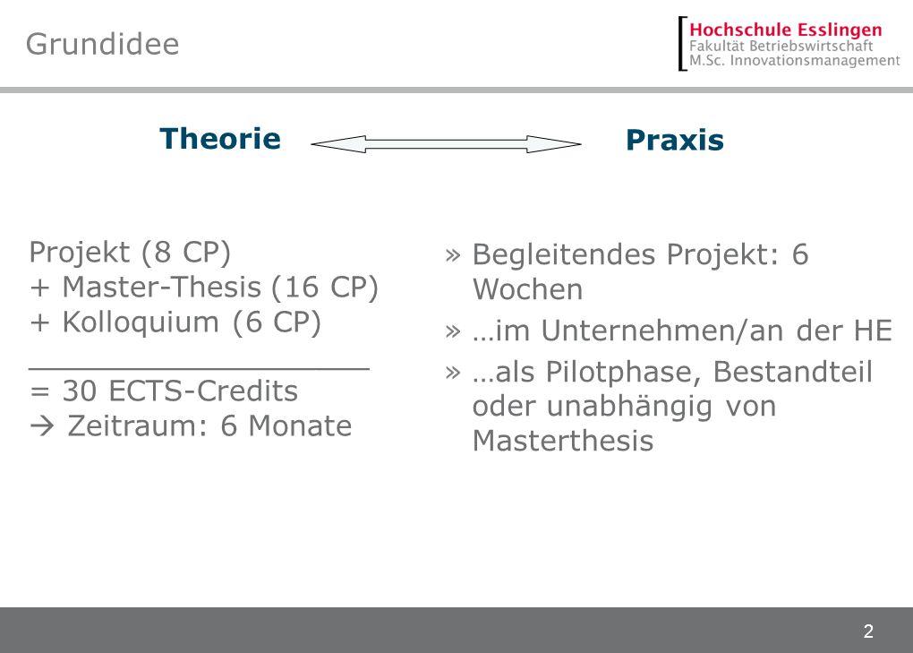 2 Grundidee Projekt (8 CP) + Master-Thesis (16 CP) + Kolloquium (6 CP) ___________________ = 30 ECTS-Credits Zeitraum: 6 Monate Theorie Praxis »Beglei
