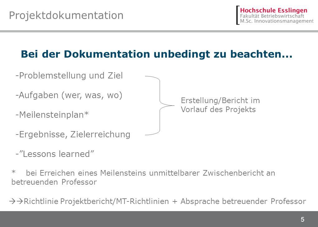 5 Projektdokumentation -Problemstellung und Ziel -Aufgaben (wer, was, wo) -Meilensteinplan* -Ergebnisse, Zielerreichung -Lessons learned Bei der Dokum