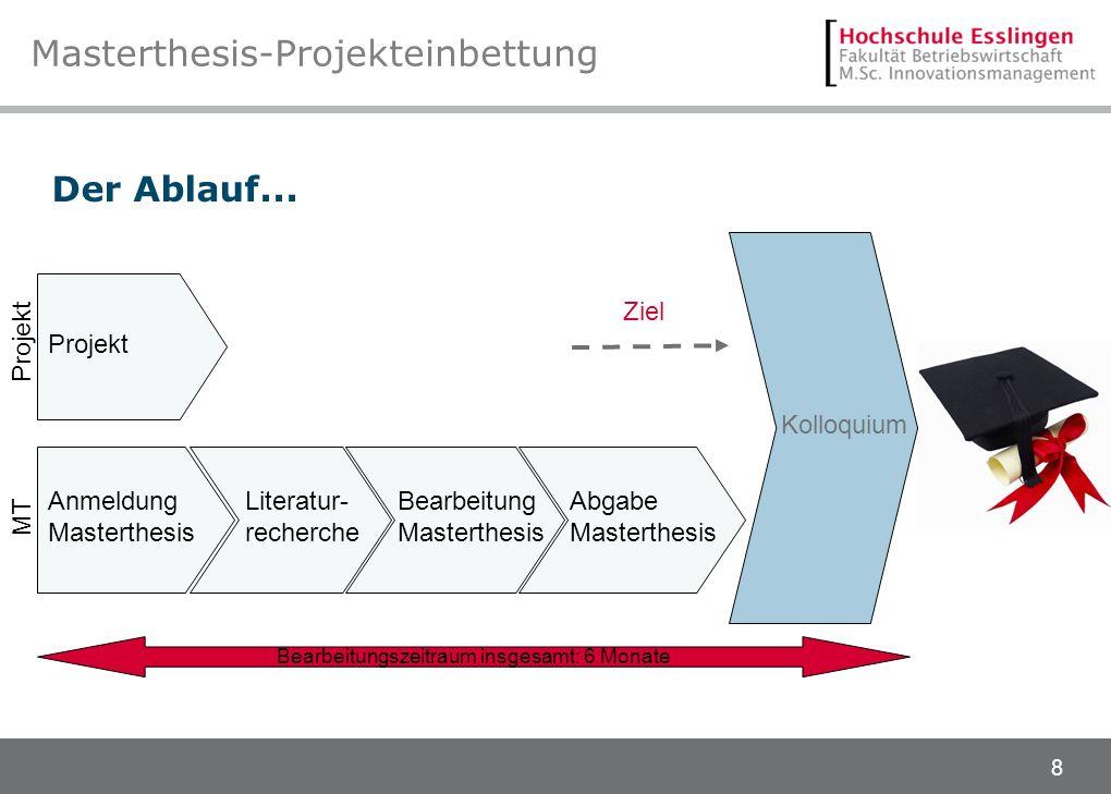 8 Masterthesis-Projekteinbettung Der Ablauf... Bearbeitungszeitraum insgesamt: 6 Monate Anmeldung Masterthesis Projekt Bearbeitung Masterthesis Abgabe