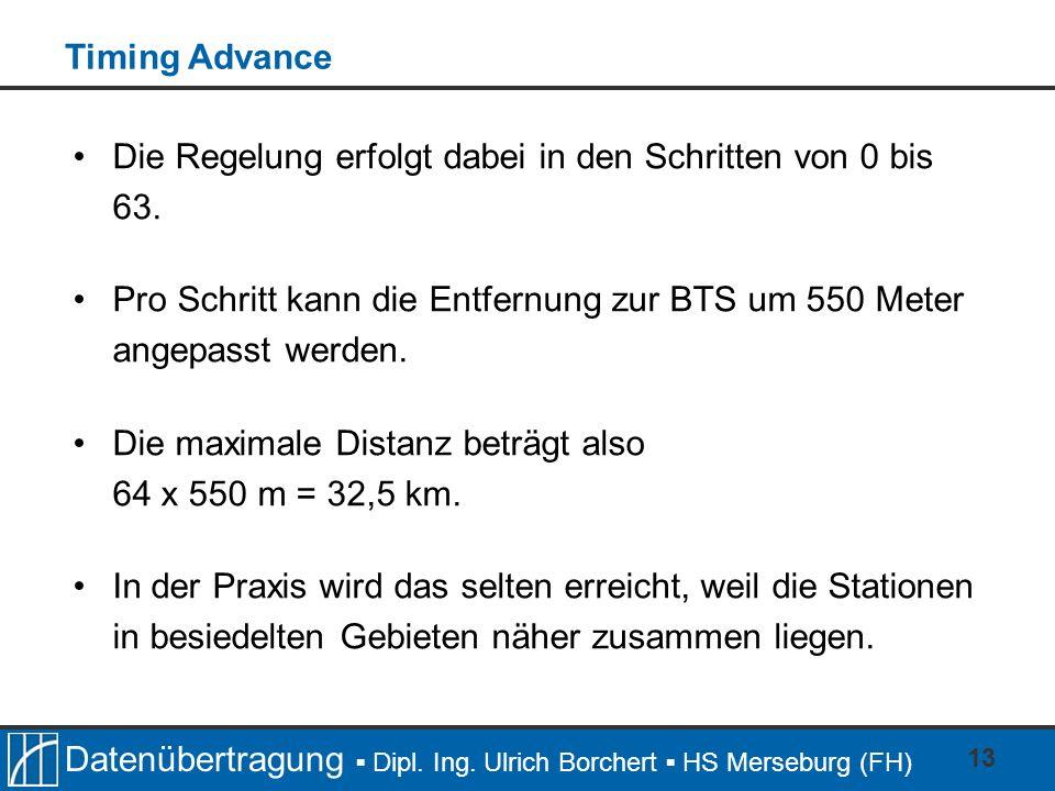 Datenübertragung Dipl. Ing. Ulrich Borchert HS Merseburg (FH) 13 Die Regelung erfolgt dabei in den Schritten von 0 bis 63. Pro Schritt kann die Entfer