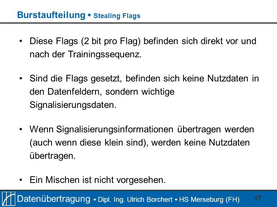 Datenübertragung Dipl. Ing. Ulrich Borchert HS Merseburg (FH) 17 Diese Flags (2 bit pro Flag) befinden sich direkt vor und nach der Trainingssequenz.