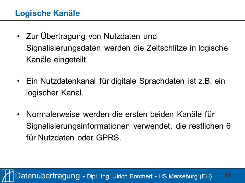 Datenübertragung Dipl. Ing. Ulrich Borchert HS Merseburg (FH) 18 Zur Übertragung von Nutzdaten und Signalisierungsdaten werden die Zeitschlitze in log