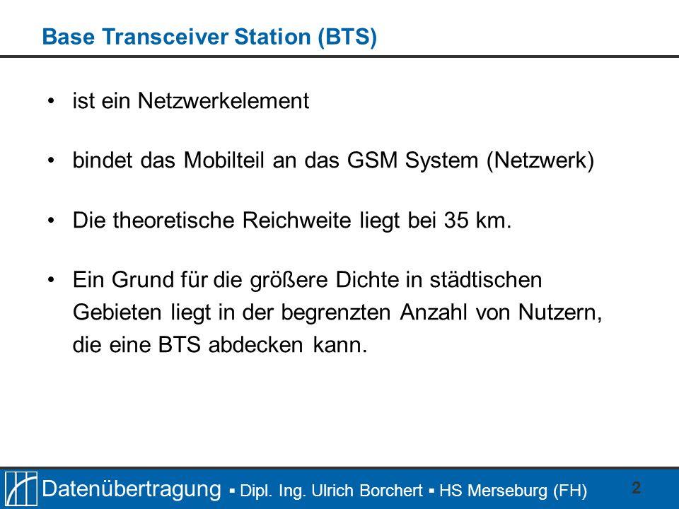 Datenübertragung Dipl. Ing. Ulrich Borchert HS Merseburg (FH) 2 ist ein Netzwerkelement bindet das Mobilteil an das GSM System (Netzwerk) Die theoreti