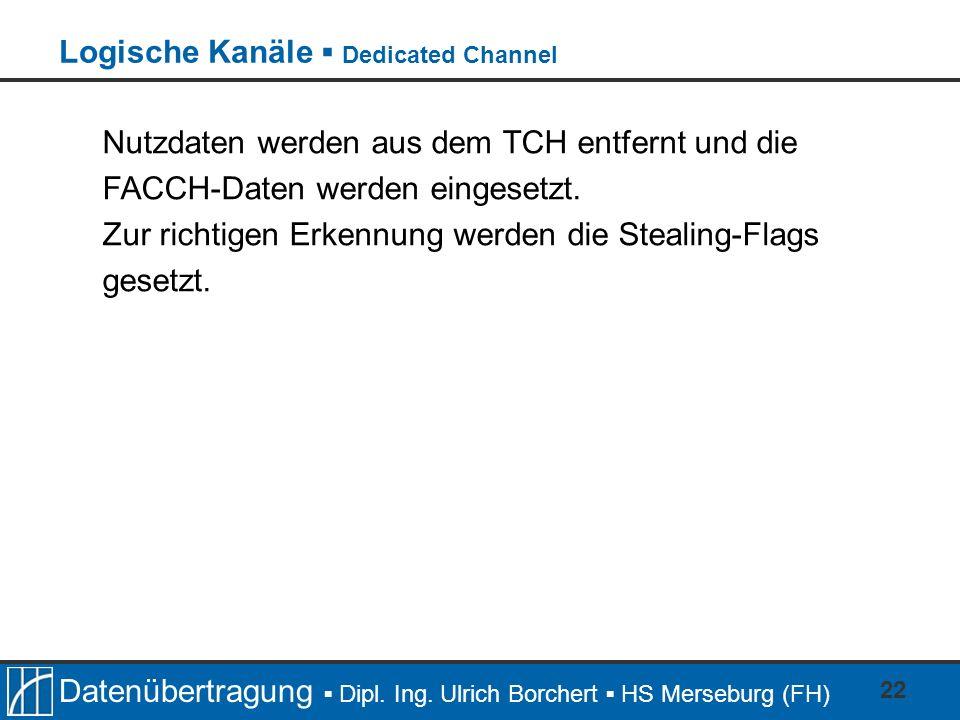 Datenübertragung Dipl. Ing. Ulrich Borchert HS Merseburg (FH) 22 Nutzdaten werden aus dem TCH entfernt und die FACCH-Daten werden eingesetzt. Zur rich