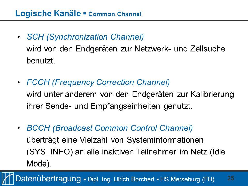 Datenübertragung Dipl. Ing. Ulrich Borchert HS Merseburg (FH) 25 SCH (Synchronization Channel) wird von den Endgeräten zur Netzwerk- und Zellsuche ben