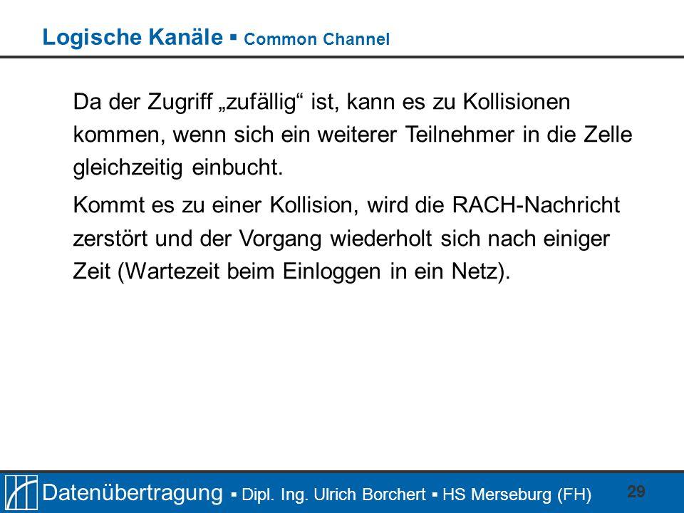 Datenübertragung Dipl. Ing. Ulrich Borchert HS Merseburg (FH) 29 Da der Zugriff zufällig ist, kann es zu Kollisionen kommen, wenn sich ein weiterer Te