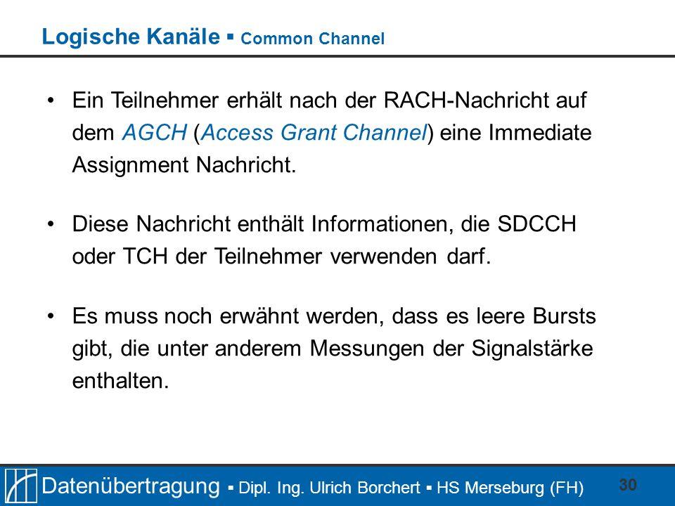 Datenübertragung Dipl. Ing. Ulrich Borchert HS Merseburg (FH) 30 Ein Teilnehmer erhält nach der RACH-Nachricht auf dem AGCH (Access Grant Channel) ein
