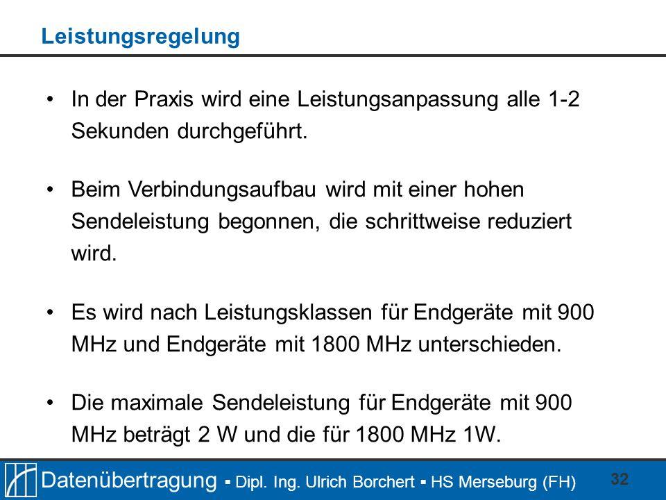 Datenübertragung Dipl. Ing. Ulrich Borchert HS Merseburg (FH) 32 In der Praxis wird eine Leistungsanpassung alle 1-2 Sekunden durchgeführt. Beim Verbi