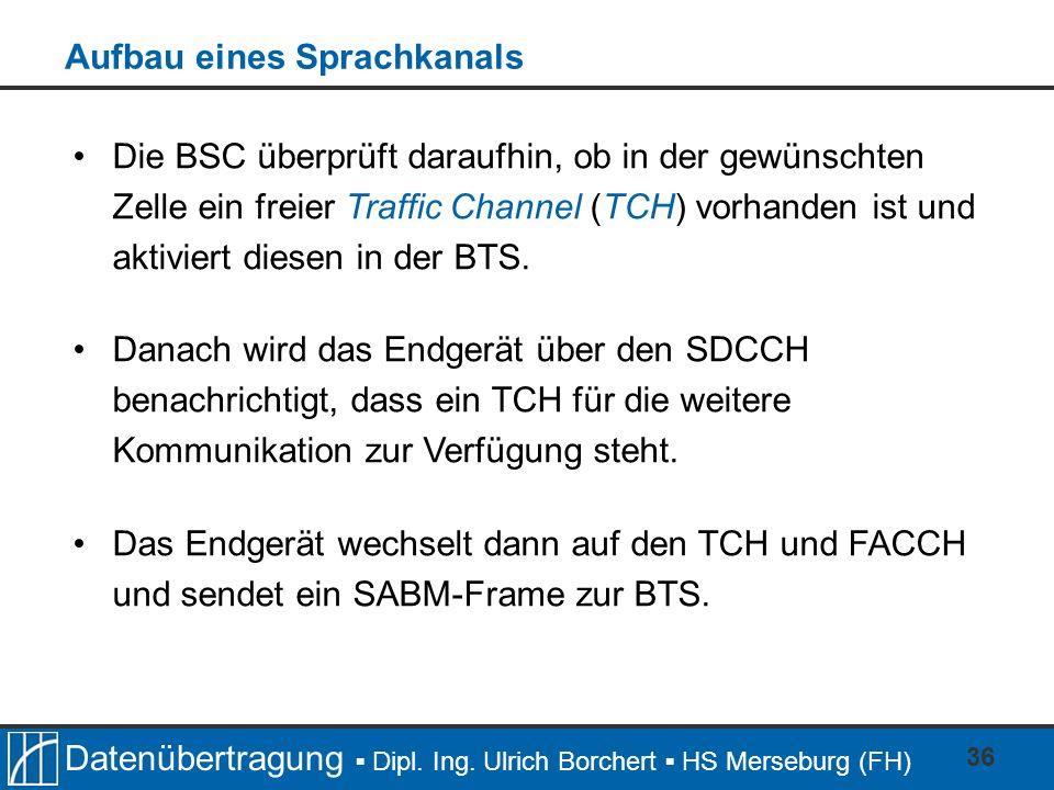 Datenübertragung Dipl. Ing. Ulrich Borchert HS Merseburg (FH) 36 Die BSC überprüft daraufhin, ob in der gewünschten Zelle ein freier Traffic Channel (