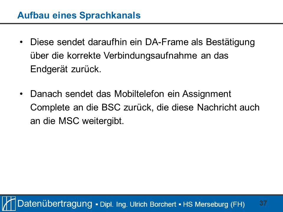 Datenübertragung Dipl. Ing. Ulrich Borchert HS Merseburg (FH) 37 Diese sendet daraufhin ein DA-Frame als Bestätigung über die korrekte Verbindungsaufn