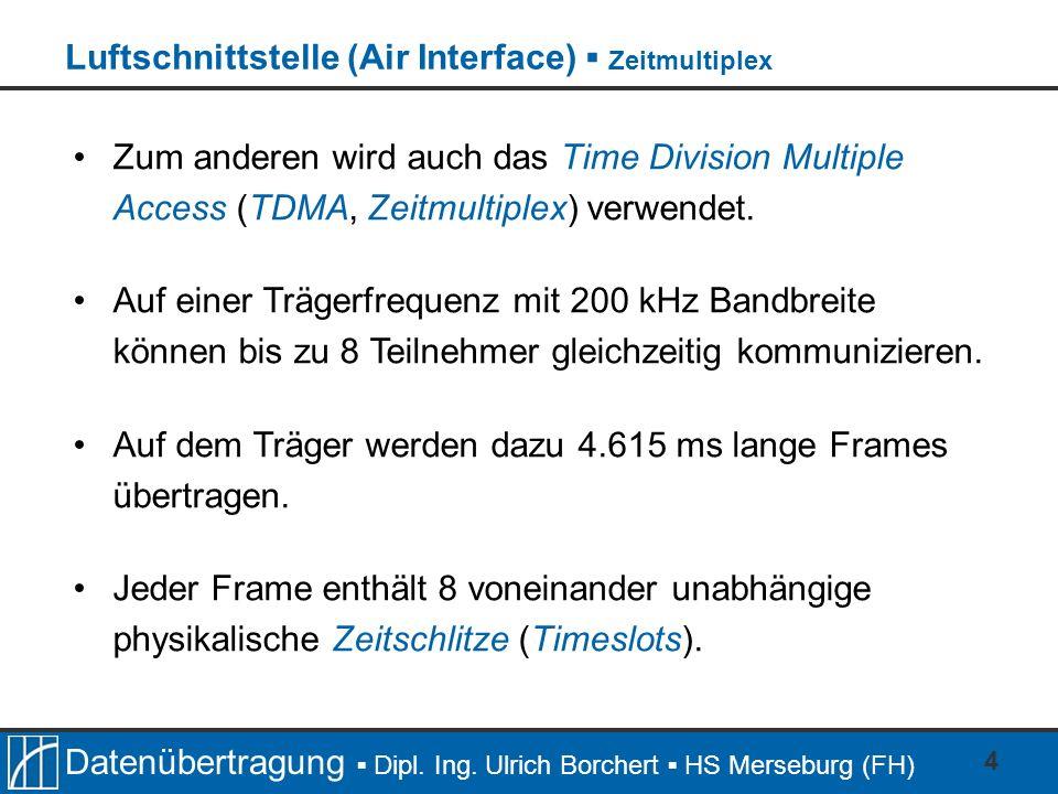 Datenübertragung Dipl. Ing. Ulrich Borchert HS Merseburg (FH) 4 Zum anderen wird auch das Time Division Multiple Access (TDMA, Zeitmultiplex) verwende