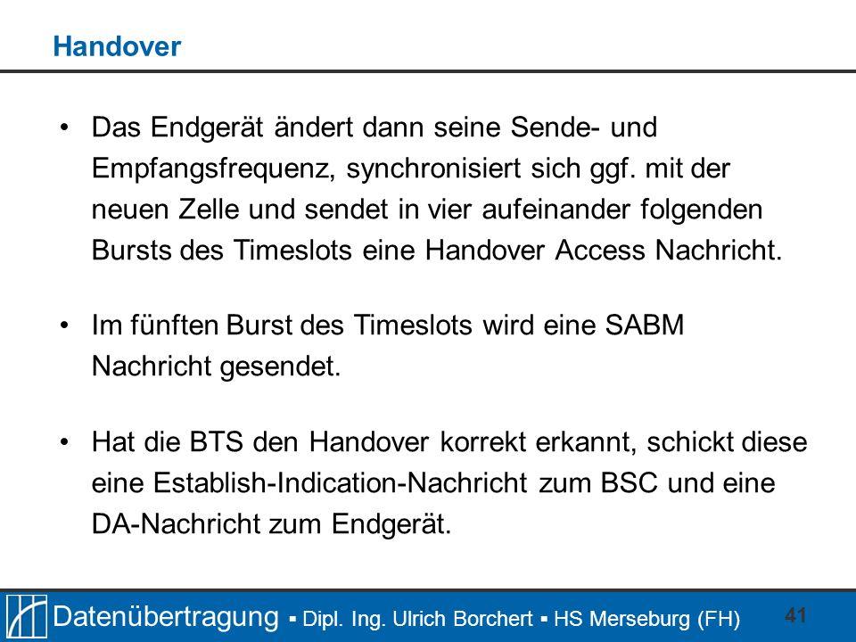 Datenübertragung Dipl. Ing. Ulrich Borchert HS Merseburg (FH) 41 Das Endgerät ändert dann seine Sende- und Empfangsfrequenz, synchronisiert sich ggf.
