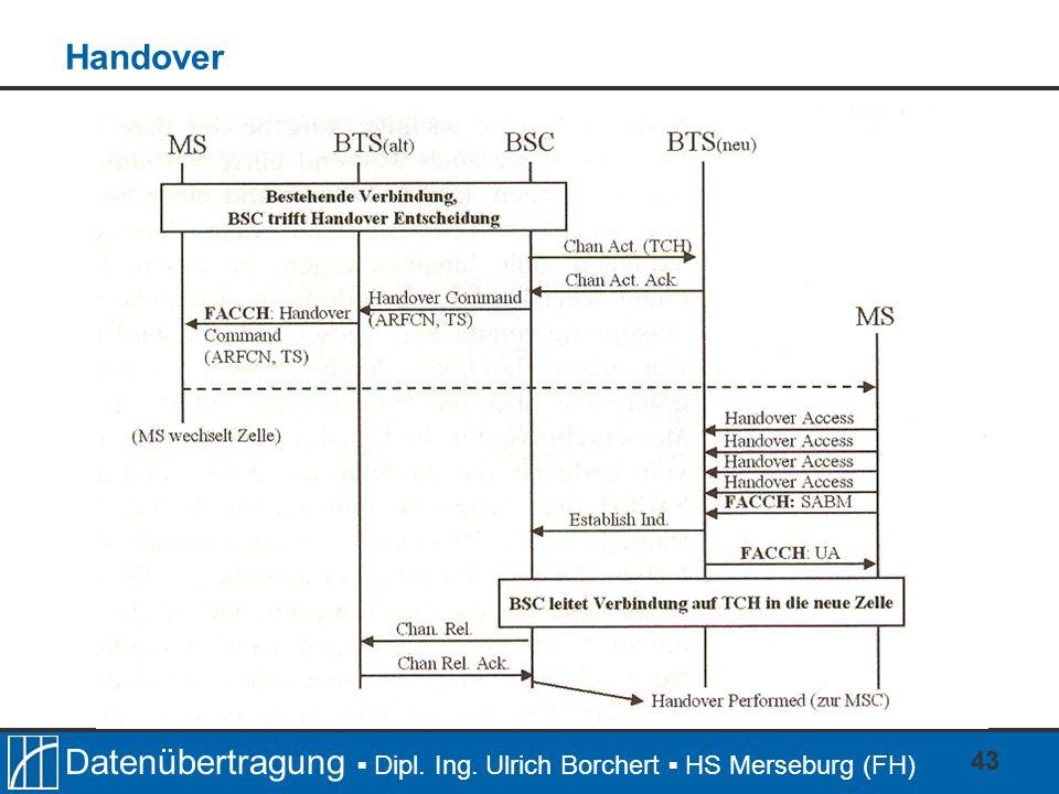Datenübertragung Dipl. Ing. Ulrich Borchert HS Merseburg (FH) 43 Handover