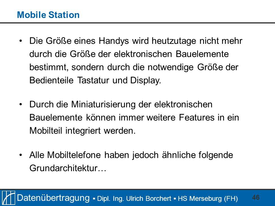Datenübertragung Dipl. Ing. Ulrich Borchert HS Merseburg (FH) 46 Die Größe eines Handys wird heutzutage nicht mehr durch die Größe der elektronischen