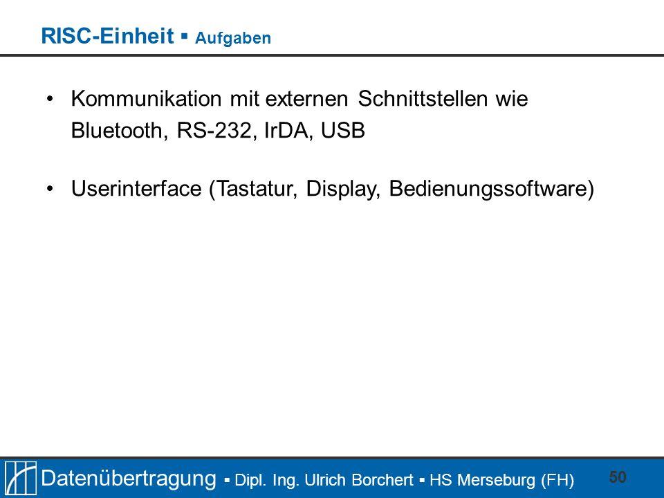 Datenübertragung Dipl. Ing. Ulrich Borchert HS Merseburg (FH) 50 Kommunikation mit externen Schnittstellen wie Bluetooth, RS-232, IrDA, USB Userinterf