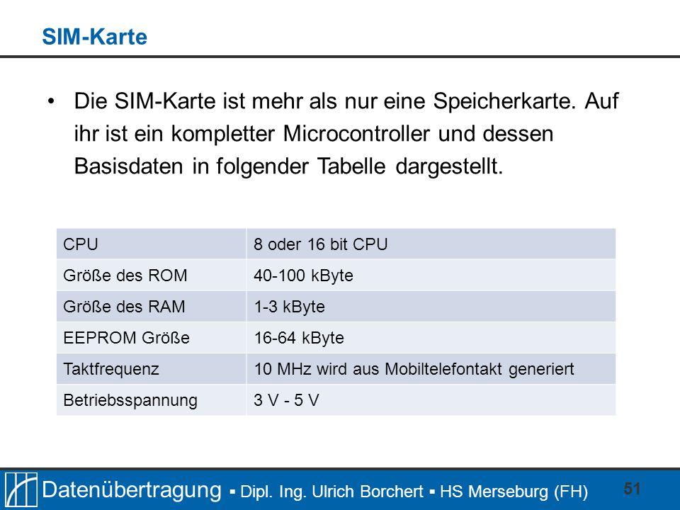Datenübertragung Dipl. Ing. Ulrich Borchert HS Merseburg (FH) 51 CPU8 oder 16 bit CPU Größe des ROM40-100 kByte Größe des RAM1-3 kByte EEPROM Größe16-